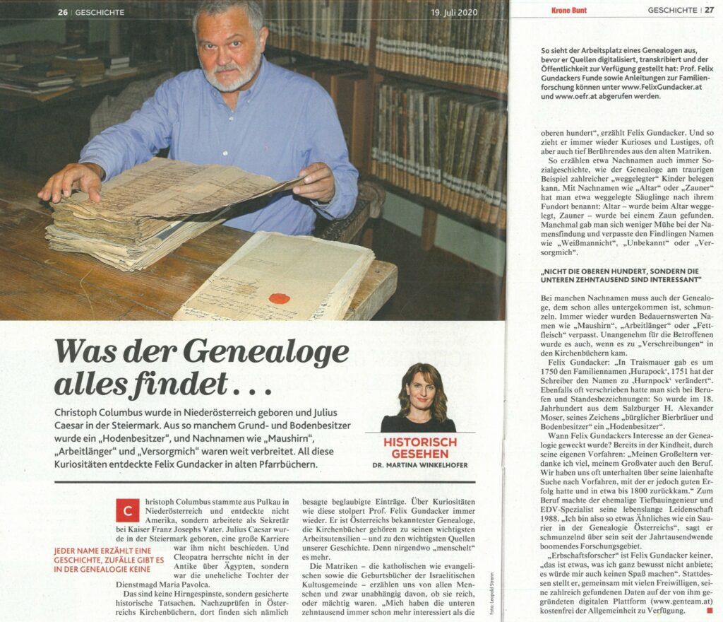 Zeitungsartikel Krone Bund 19072020